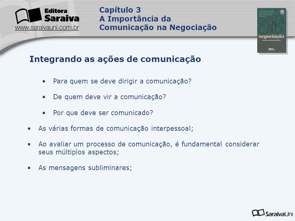 Capa da Obra Capítulo 3 A Importância da Comunicação na Negociação •Para quem se deve dirigir a comunicação.