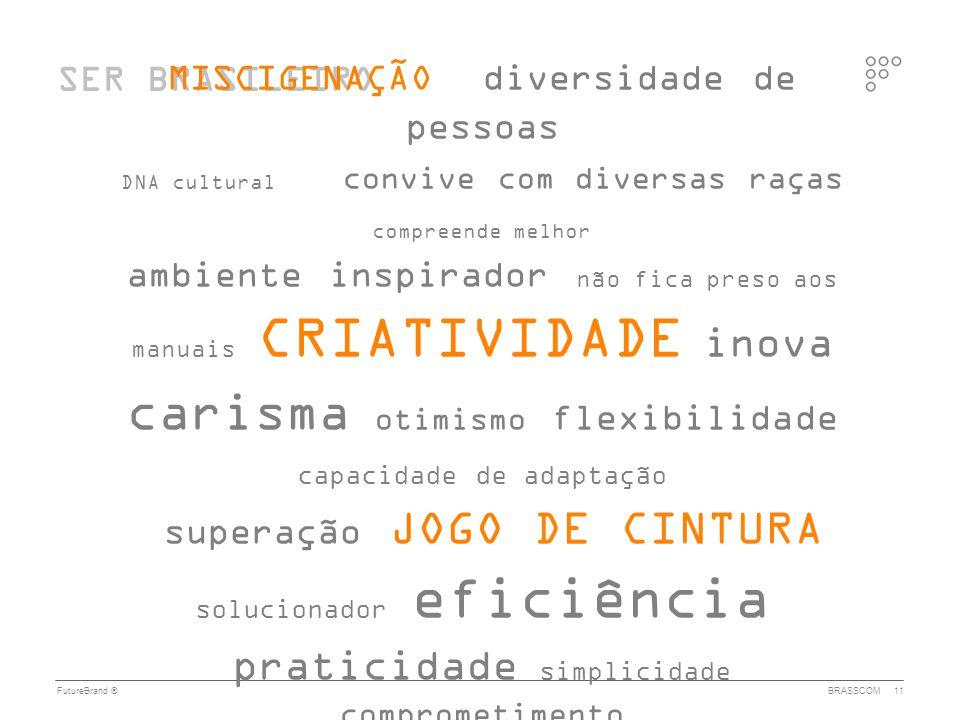 FutureBrand ®BRASSCOM11 SER BRASILEIRO MISCIGENAÇÃO diversidade de pessoas DNA cultural convive com diversas raças compreende melhor ambiente inspirad