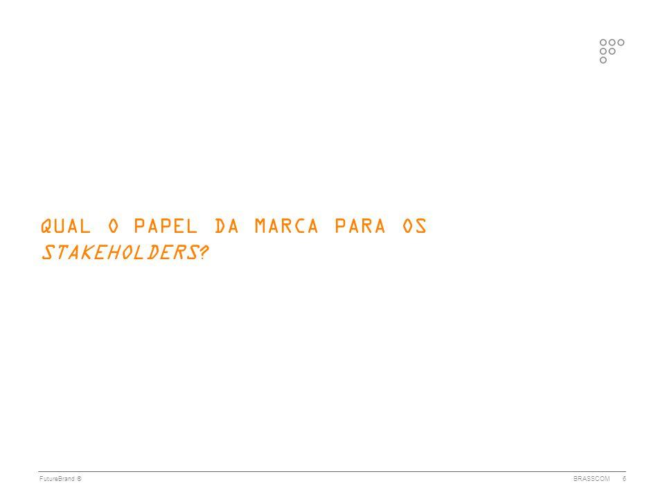 FutureBrand ®BRASSCOM7 UMA MARCA QUE: • aumente o awareness, construa e promova uma imagem positiva e séria do Brasil e do setor de TI • transmita credibilidade, capacidade, conhecimento, segurança, qualidade e comprometimento na entrega CONHECIMENTO l CAPACIDADE