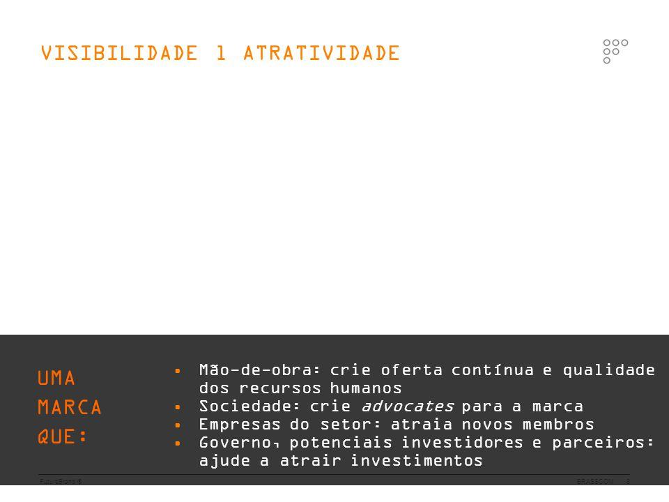 FutureBrand ®BRASSCOM9 • represente o setor de TI brasileiro juntamente com o governo na sua atuação no cenário competitivo internacional • influencie positivamente a imagem do Brasil e o setor de TI, gerando novos negócios ALINHAMENTO l COMPROMISSO UMA MARCA QUE: