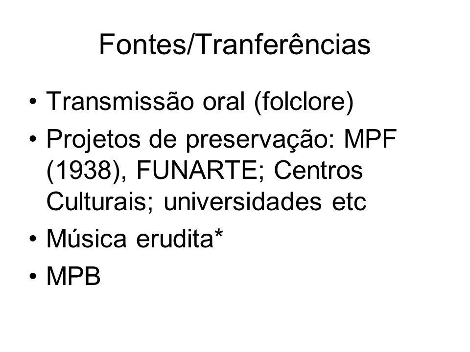 Fontes/Tranferências •Transmissão oral (folclore) •Projetos de preservação: MPF (1938), FUNARTE; Centros Culturais; universidades etc •Música erudita*