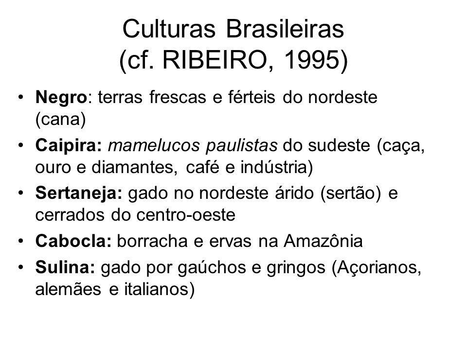 Culturas Brasileiras (cf. RIBEIRO, 1995) •Negro: terras frescas e férteis do nordeste (cana) •Caipira: mamelucos paulistas do sudeste (caça, ouro e di