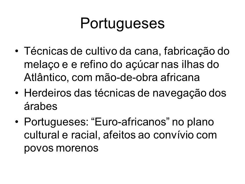 Portugueses •Técnicas de cultivo da cana, fabricação do melaço e e refino do açúcar nas ilhas do Atlântico, com mão-de-obra africana •Herdeiros das té