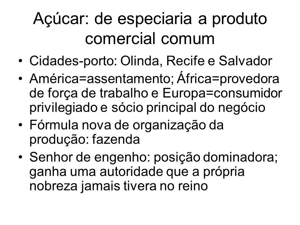 Açúcar: de especiaria a produto comercial comum •Cidades-porto: Olinda, Recife e Salvador •América=assentamento; África=provedora de força de trabalho