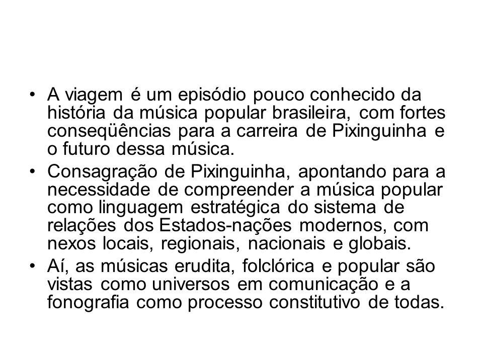 •A viagem é um episódio pouco conhecido da história da música popular brasileira, com fortes conseqüências para a carreira de Pixinguinha e o futuro d