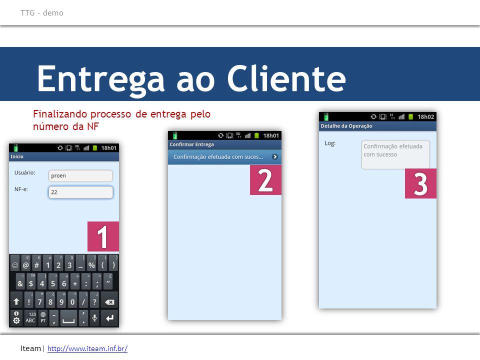 Entrega ao Cliente Finalizando processo de entrega pelo número da NF Iteam| http://www.iteam.inf.br/ http://www.iteam.inf.br/ TTG - demo