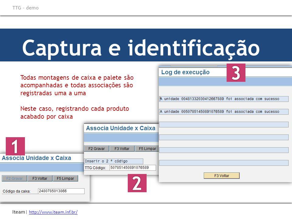 Captura e identificação Todas montagens de caixa e palete são acompanhadas e todas associações são registradas uma a uma Neste caso, registrando cada