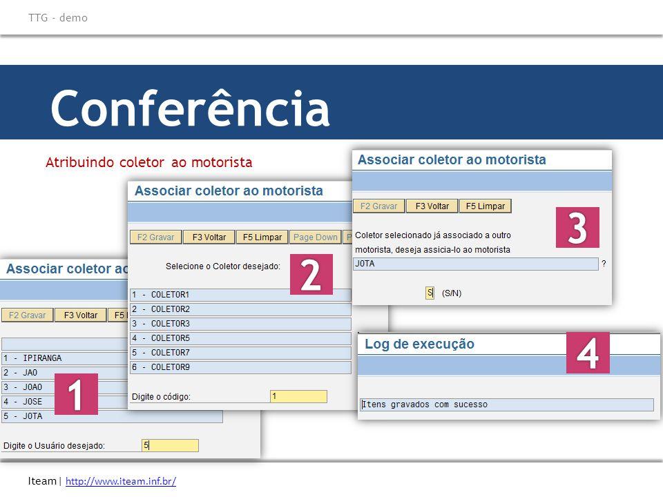 Conferência Atribuindo coletor ao motorista Iteam| http://www.iteam.inf.br/ http://www.iteam.inf.br/ TTG - demo