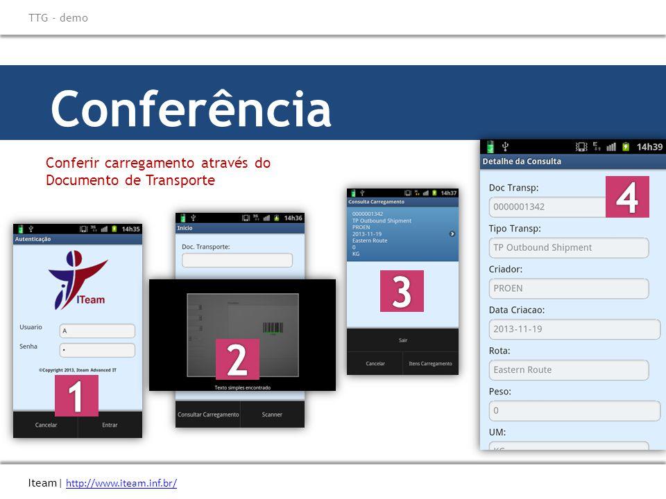 Conferência Conferir carregamento através do Documento de Transporte Iteam| http://www.iteam.inf.br/ http://www.iteam.inf.br/ TTG - demo