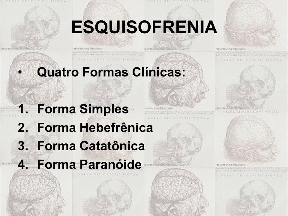 ESQUISOFRENIA •Quatro Formas Clínicas: 1.Forma Simples 2.Forma Hebefrênica 3.Forma Catatônica 4.Forma Paranóide