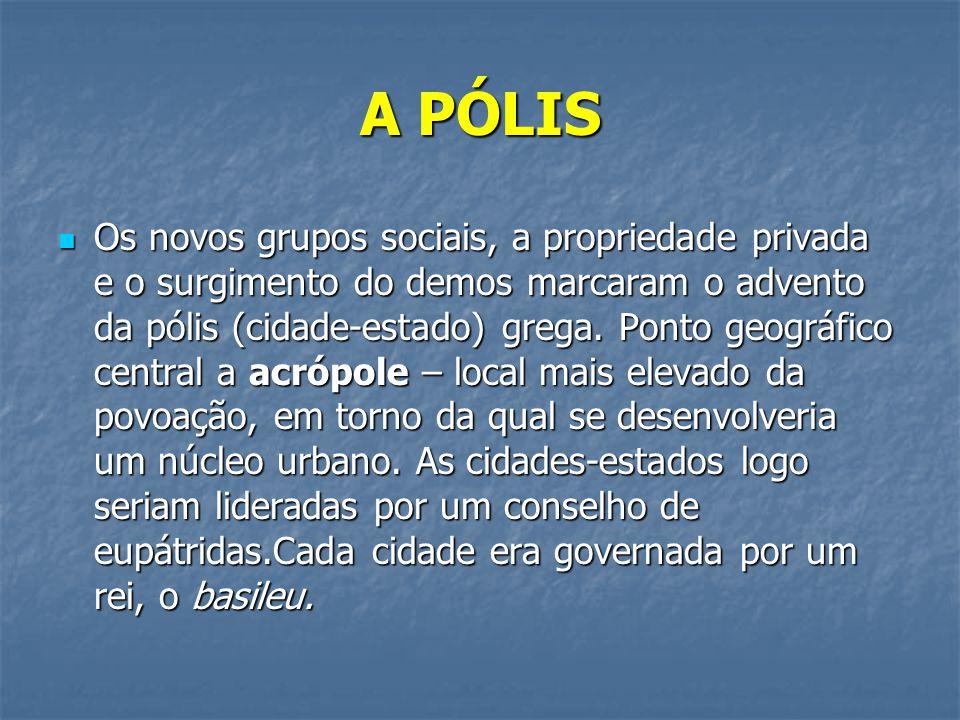 A PÓLIS  Os novos grupos sociais, a propriedade privada e o surgimento do demos marcaram o advento da pólis (cidade-estado) grega. Ponto geográfico c