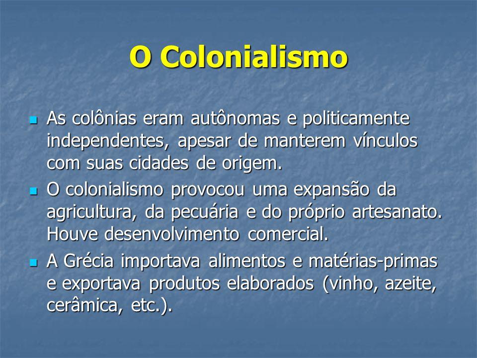 O Colonialismo  As colônias eram autônomas e politicamente independentes, apesar de manterem vínculos com suas cidades de origem.  O colonialismo pr
