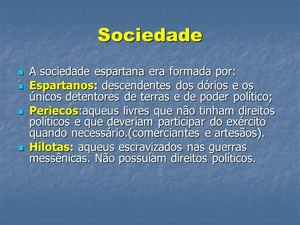 Sociedade  A sociedade espartana era formada por:  Espartanos: descendentes dos dórios e os únicos detentores de terras e de poder político;  Perie