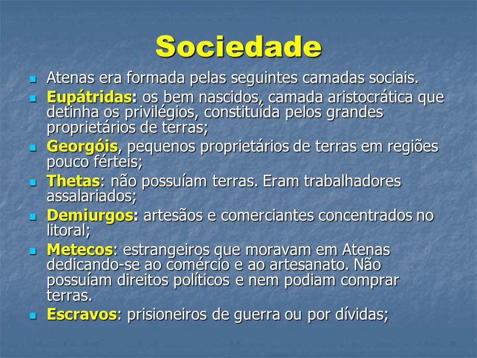 Sociedade  Atenas era formada pelas seguintes camadas sociais.  Eupátridas: os bem nascidos, camada aristocrática que detinha os privilégios, consti