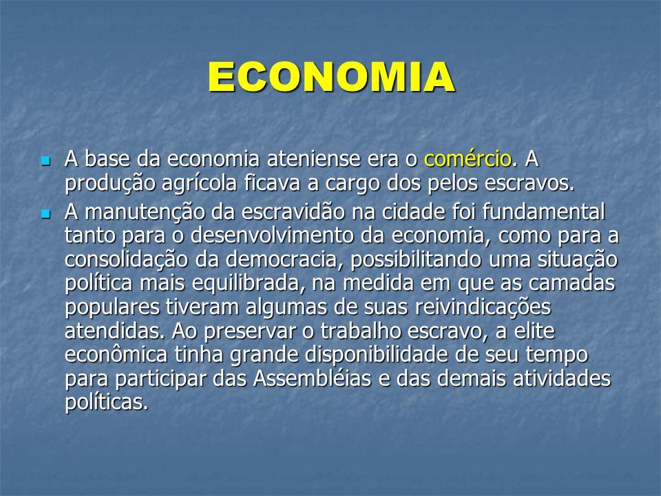 ECONOMIA  A base da economia ateniense era o comércio. A produção agrícola ficava a cargo dos pelos escravos.  A manutenção da escravidão na cidade