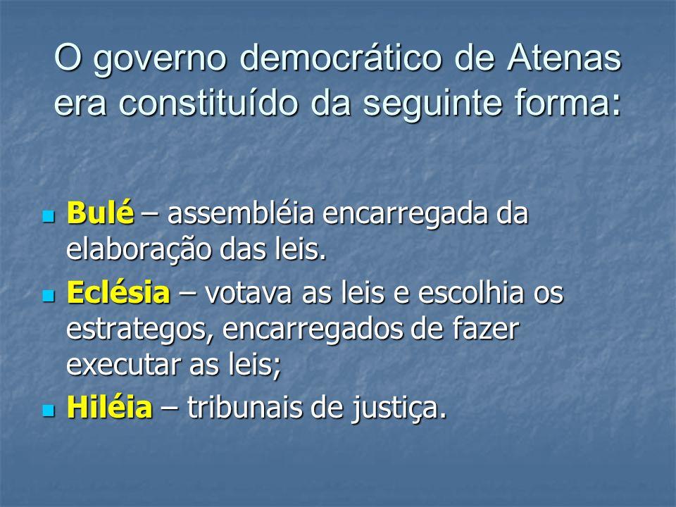 O governo democrático de Atenas era constituído da seguinte forma :  Bulé – assembléia encarregada da elaboração das leis.  Eclésia – votava as leis