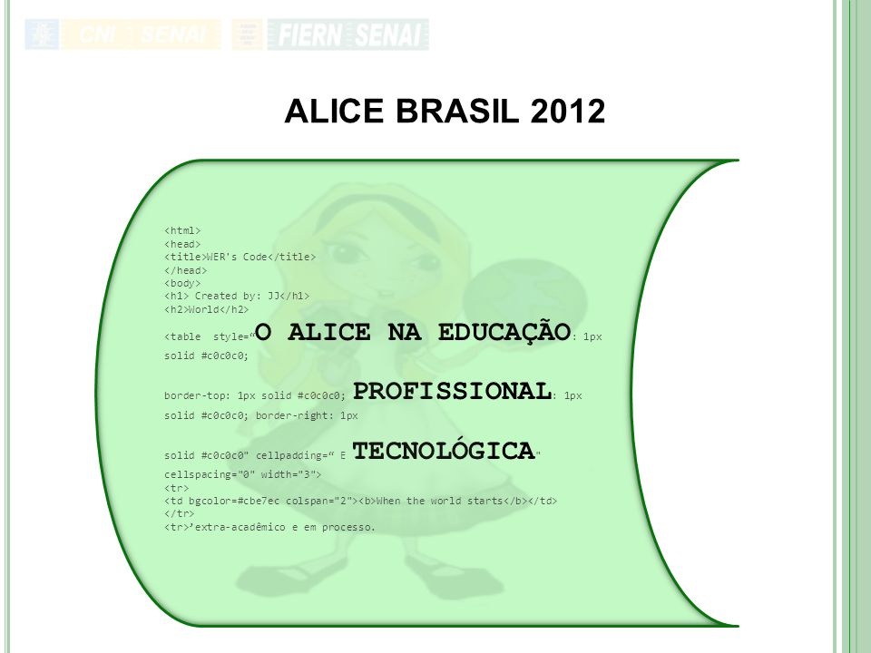 "ALICE BRASIL 2012 WER's Code Created by: JJ World <table style="" O ALICE NA EDUCAÇÃO : 1px solid #c0c0c0; border-top: 1px solid #c0c0c0; PROFISSIONAL"