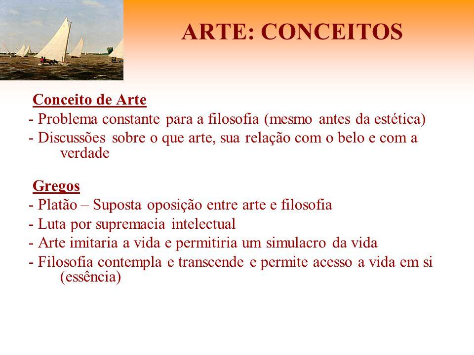 ARTE: CONCEITOS Conceito de Arte - Problema constante para a filosofia (mesmo antes da estética) - Discussões sobre o que arte, sua relação com o belo