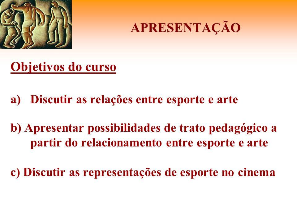 APRESENTAÇÃO Objetivos do curso a)Discutir as relações entre esporte e arte b) Apresentar possibilidades de trato pedagógico a partir do relacionament