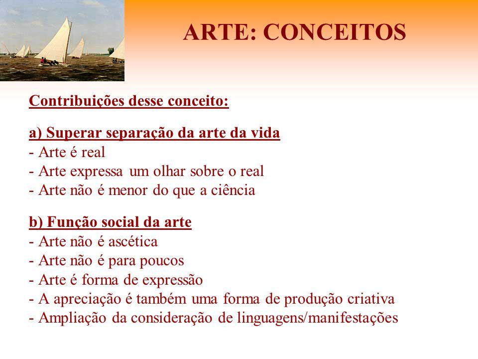 ARTE: CONCEITOS Contribuições desse conceito: a) Superar separação da arte da vida - Arte é real - Arte expressa um olhar sobre o real - Arte não é me