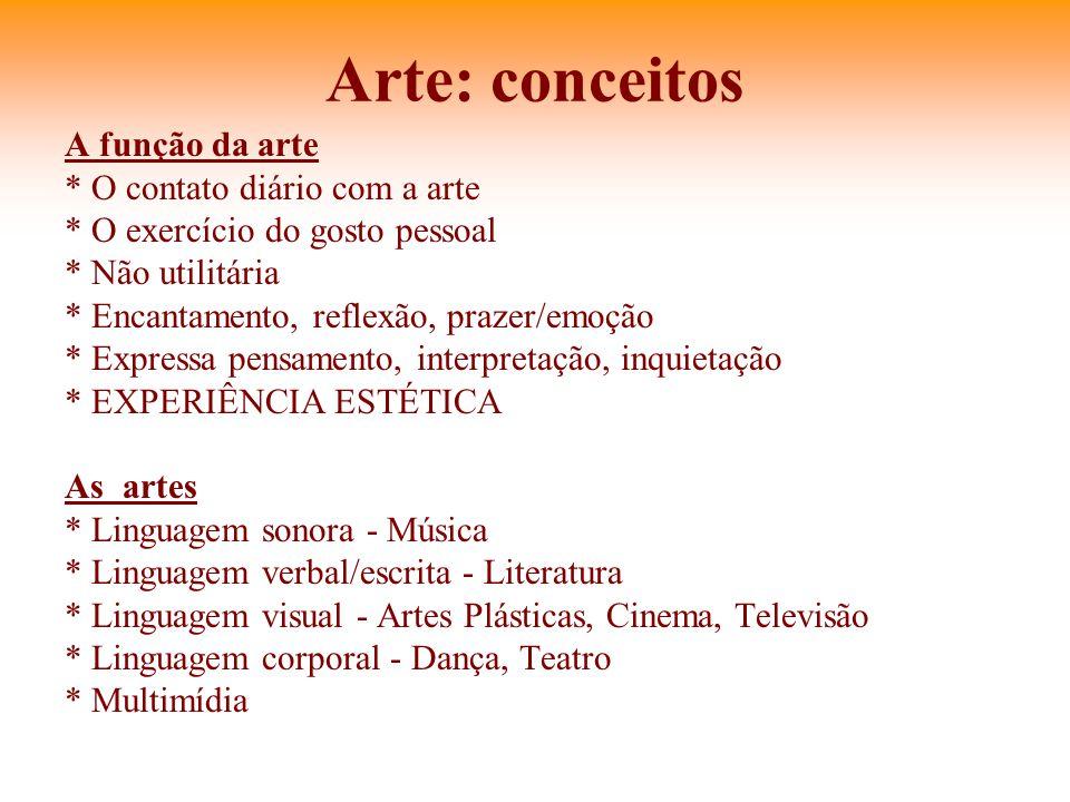 Arte: conceitos A função da arte * O contato diário com a arte * O exercício do gosto pessoal * Não utilitária * Encantamento, reflexão, prazer/emoção