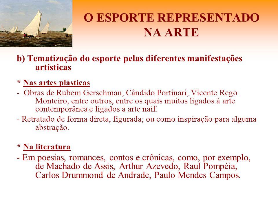 O ESPORTE REPRESENTADO NA ARTE b) Tematização do esporte pelas diferentes manifestações artísticas * Nas artes plásticas - Obras de Rubem Gerschman, C