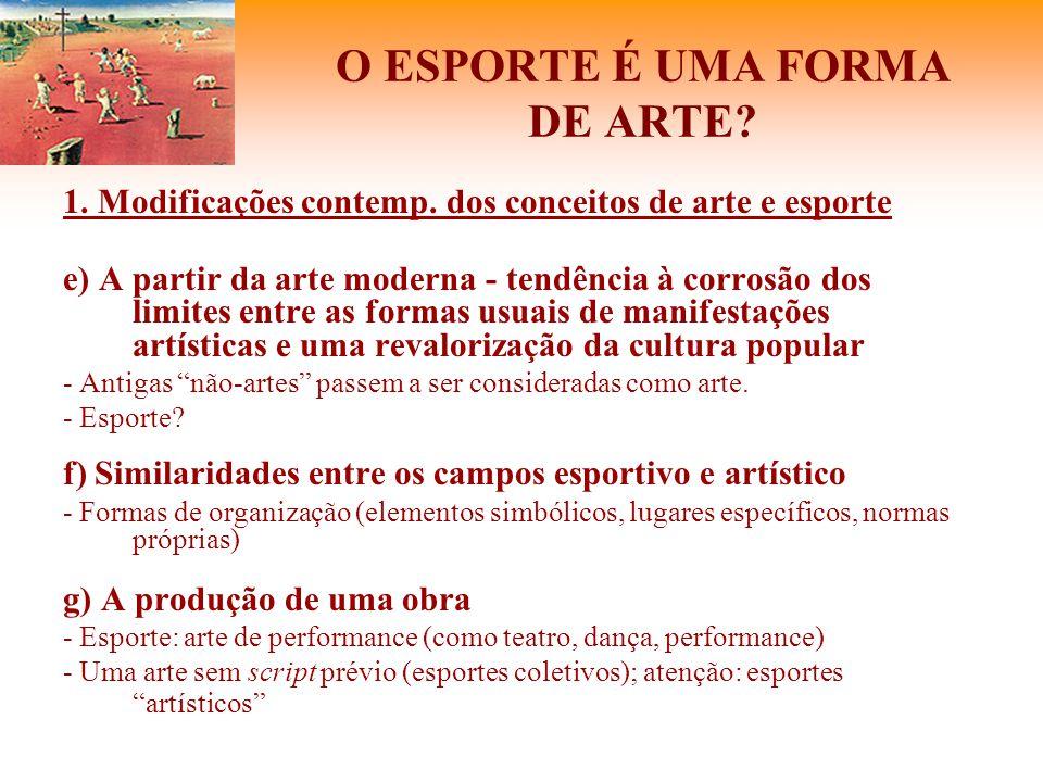 O ESPORTE É UMA FORMA DE ARTE? 1. Modificações contemp. dos conceitos de arte e esporte e) A partir da arte moderna - tendência à corrosão dos limites