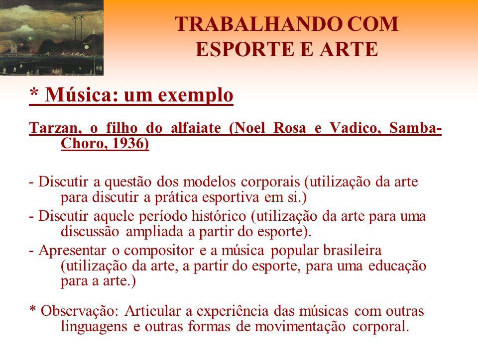 TRABALHANDO COM ESPORTE E ARTE * Música: um exemplo Tarzan, o filho do alfaiate (Noel Rosa e Vadico, Samba- Choro, 1936) - Discutir a questão dos mode