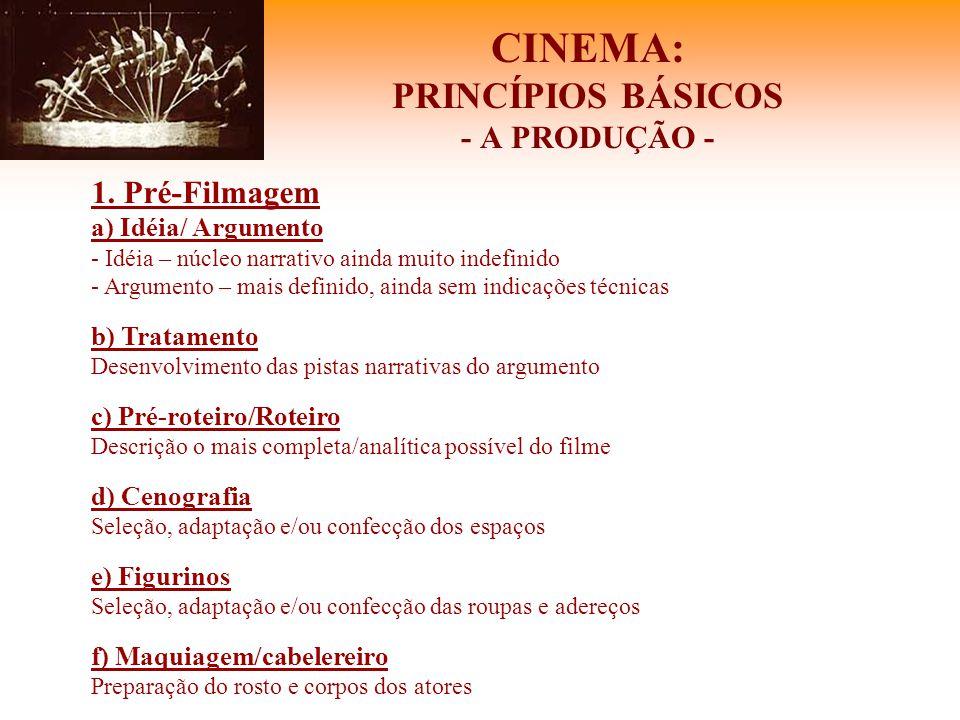 CINEMA: PRINCÍPIOS BÁSICOS - A PRODUÇÃO - 1. Pré-Filmagem a) Idéia/ Argumento - Idéia – núcleo narrativo ainda muito indefinido - Argumento – mais def
