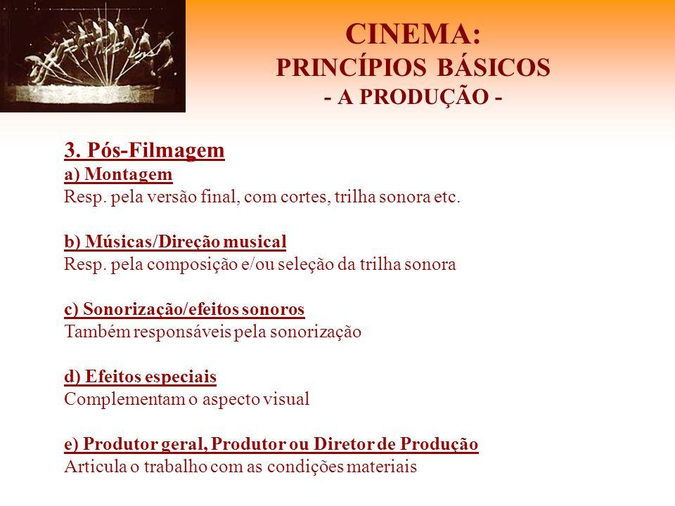 CINEMA: PRINCÍPIOS BÁSICOS - A PRODUÇÃO - 3. Pós-Filmagem a) Montagem Resp. pela versão final, com cortes, trilha sonora etc. b) Músicas/Direção music
