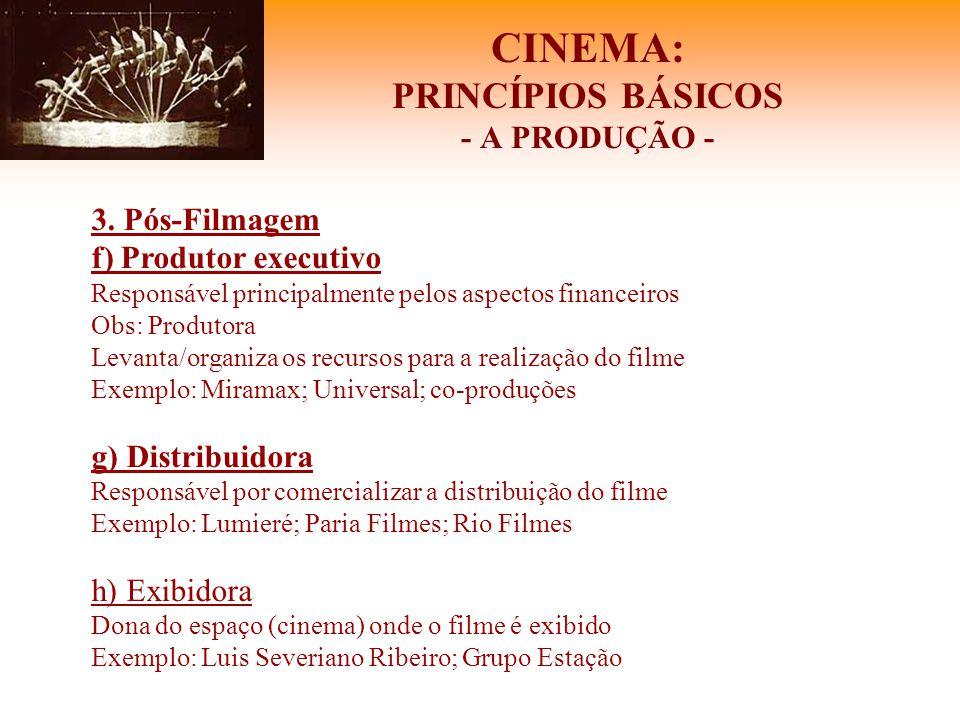 CINEMA: PRINCÍPIOS BÁSICOS - A PRODUÇÃO - 3. Pós-Filmagem f) Produtor executivo Responsável principalmente pelos aspectos financeiros Obs: Produtora L