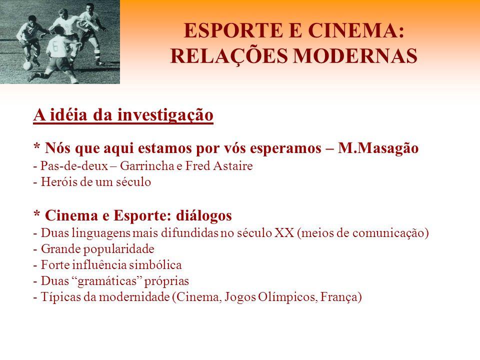 ESPORTE E CINEMA: RELAÇÕES MODERNAS A idéia da investigação * Nós que aqui estamos por vós esperamos – M.Masagão - Pas-de-deux – Garrincha e Fred Asta