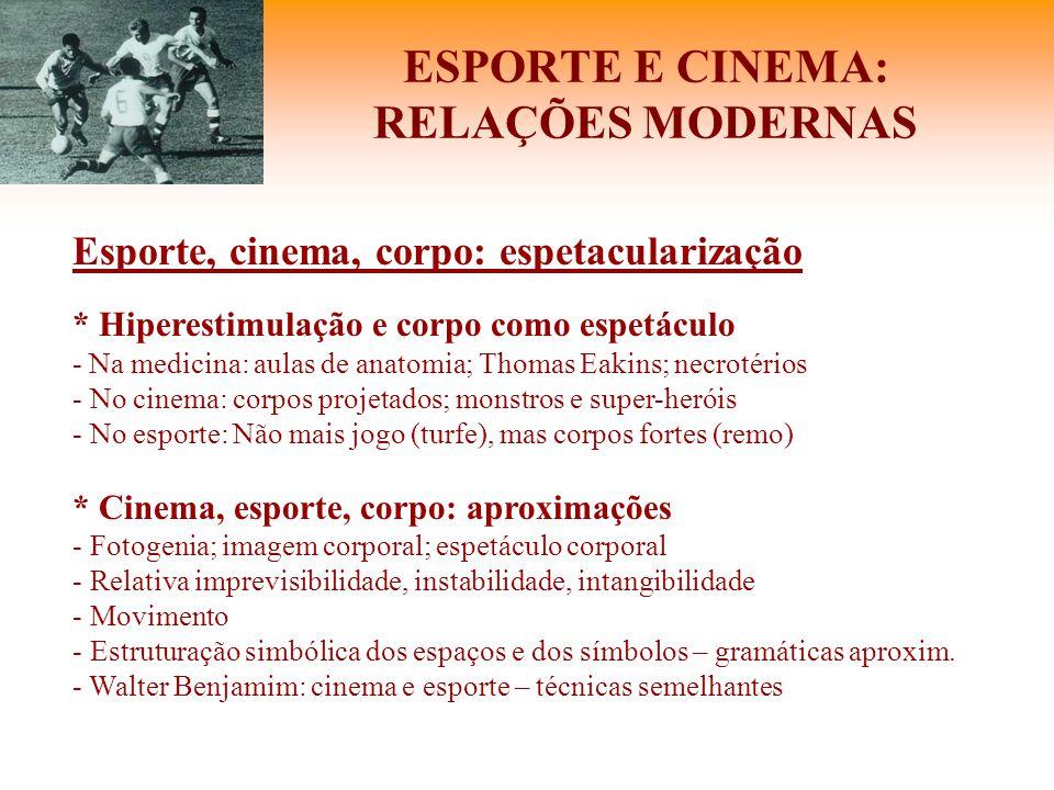 ESPORTE E CINEMA: RELAÇÕES MODERNAS Esporte, cinema, corpo: espetacularização * Hiperestimulação e corpo como espetáculo - Na medicina: aulas de anato