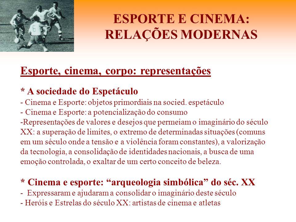 ESPORTE E CINEMA: RELAÇÕES MODERNAS Esporte, cinema, corpo: representações * A sociedade do Espetáculo - Cinema e Esporte: objetos primordiais na soci