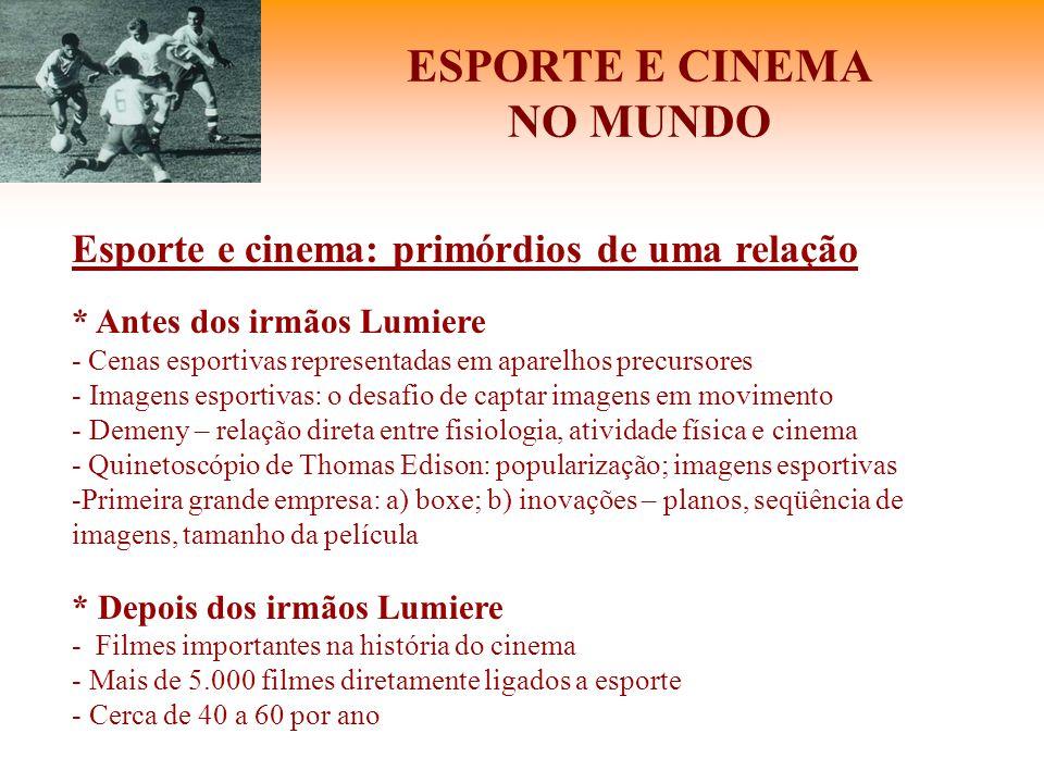ESPORTE E CINEMA NO MUNDO Esporte e cinema: primórdios de uma relação * Antes dos irmãos Lumiere - Cenas esportivas representadas em aparelhos precurs