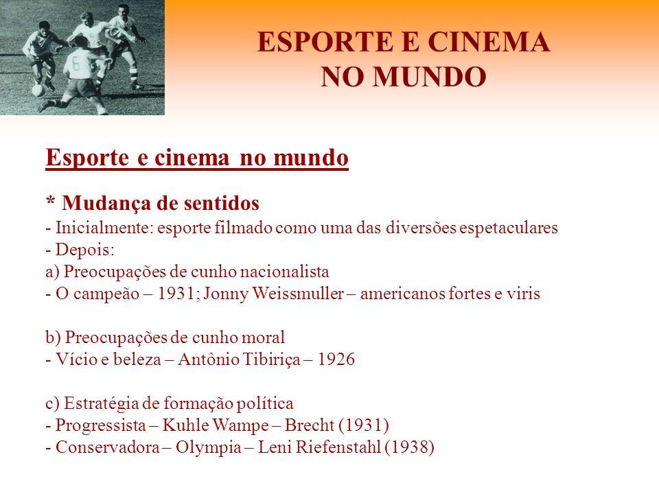 ESPORTE E CINEMA NO MUNDO Esporte e cinema no mundo * Mudança de sentidos - Inicialmente: esporte filmado como uma das diversões espetaculares - Depoi