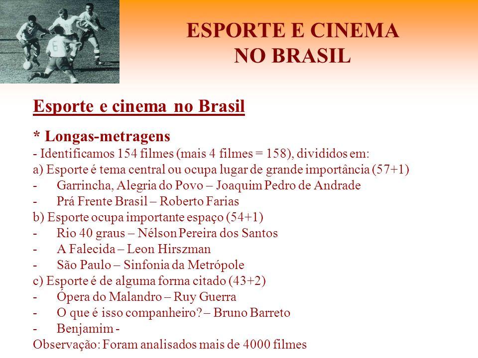 ESPORTE E CINEMA NO BRASIL Esporte e cinema no Brasil * Longas-metragens - Identificamos 154 filmes (mais 4 filmes = 158), divididos em: a) Esporte é