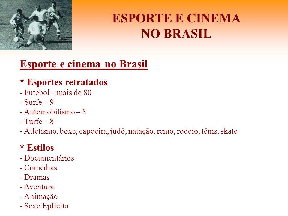 ESPORTE E CINEMA NO BRASIL Esporte e cinema no Brasil * Esportes retratados - Futebol – mais de 80 - Surfe – 9 - Automobilismo – 8 - Turfe – 8 - Atlet