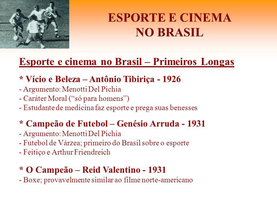 ESPORTE E CINEMA NO BRASIL Esporte e cinema no Brasil – Primeiros Longas * Vício e Beleza – Antônio Tibiriça - 1926 - Argumento: Menotti Del Pichia -