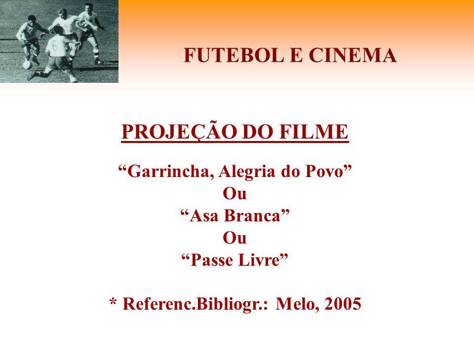 """FUTEBOL E CINEMA PROJEÇÃO DO FILME """"Garrincha, Alegria do Povo"""" Ou """"Asa Branca"""" Ou """"Passe Livre"""" * Referenc.Bibliogr.: Melo, 2005"""