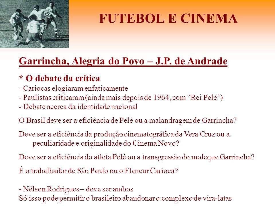 FUTEBOL E CINEMA Garrincha, Alegria do Povo – J.P. de Andrade * O debate da crítica - Cariocas elogiaram enfaticamente - Paulistas criticaram (ainda m