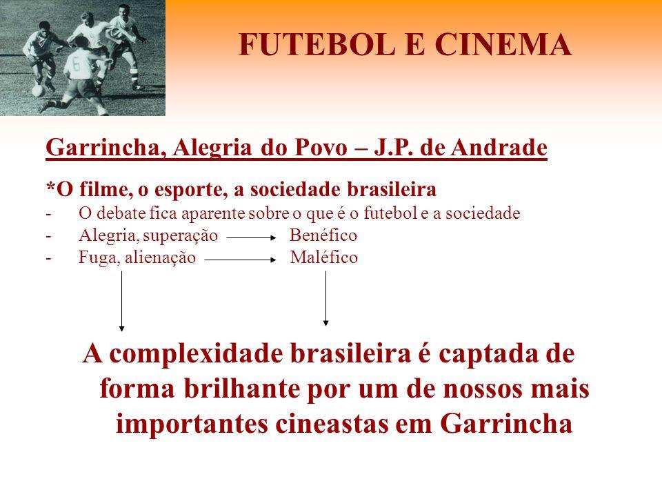 FUTEBOL E CINEMA Garrincha, Alegria do Povo – J.P. de Andrade *O filme, o esporte, a sociedade brasileira -O debate fica aparente sobre o que é o fute