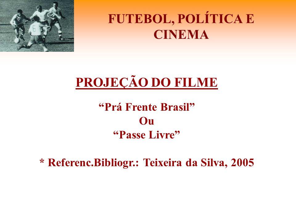 """FUTEBOL, POLÍTICA E CINEMA PROJEÇÃO DO FILME """"Prá Frente Brasil"""" Ou """"Passe Livre"""" * Referenc.Bibliogr.: Teixeira da Silva, 2005"""