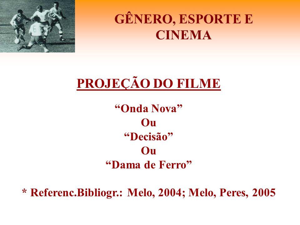 """GÊNERO, ESPORTE E CINEMA PROJEÇÃO DO FILME """"Onda Nova"""" Ou """"Decisão"""" Ou """"Dama de Ferro"""" * Referenc.Bibliogr.: Melo, 2004; Melo, Peres, 2005"""