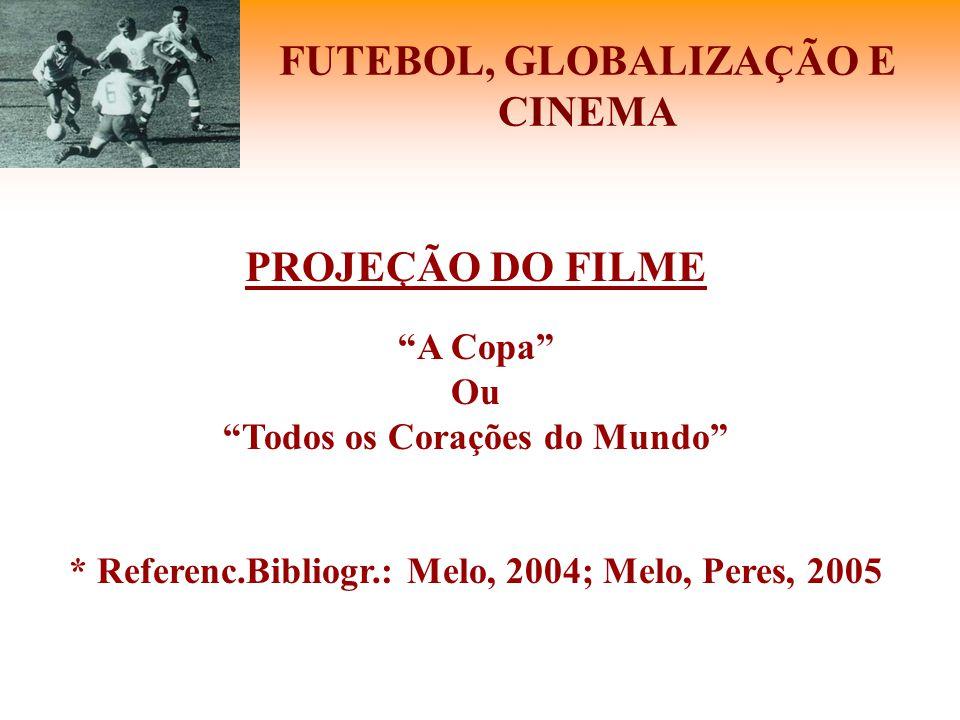 """FUTEBOL, GLOBALIZAÇÃO E CINEMA PROJEÇÃO DO FILME """"A Copa"""" Ou """"Todos os Corações do Mundo"""" * Referenc.Bibliogr.: Melo, 2004; Melo, Peres, 2005"""