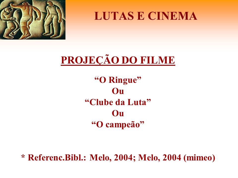 """LUTAS E CINEMA PROJEÇÃO DO FILME """"O Ringue"""" Ou """"Clube da Luta"""" Ou """"O campeão"""" * Referenc.Bibl.: Melo, 2004; Melo, 2004 (mimeo)"""