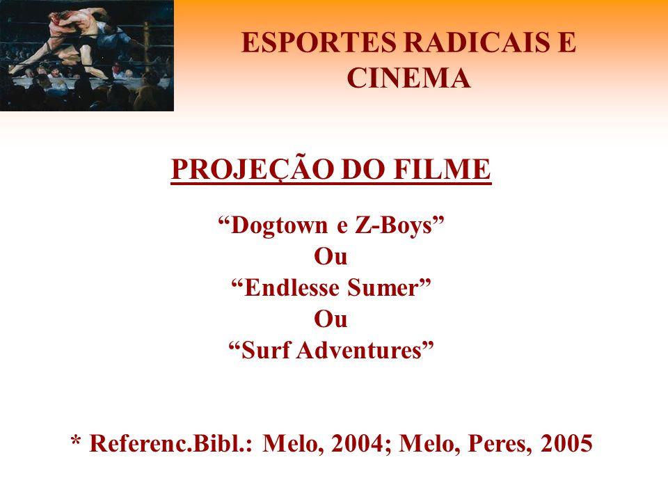 """ESPORTES RADICAIS E CINEMA PROJEÇÃO DO FILME """"Dogtown e Z-Boys"""" Ou """"Endlesse Sumer"""" Ou """"Surf Adventures"""" * Referenc.Bibl.: Melo, 2004; Melo, Peres, 20"""