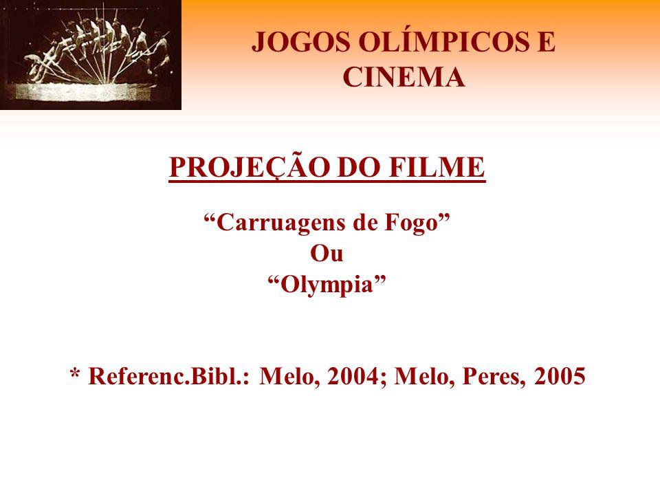 """JOGOS OLÍMPICOS E CINEMA PROJEÇÃO DO FILME """"Carruagens de Fogo"""" Ou """"Olympia"""" * Referenc.Bibl.: Melo, 2004; Melo, Peres, 2005"""