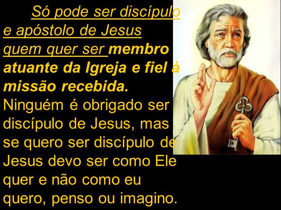 Só pode ser discípulo e apóstolo de Jesus quem quer ser membro atuante da Igreja e fiel à missão recebida. Ninguém é obrigado ser discípulo de Jesus,