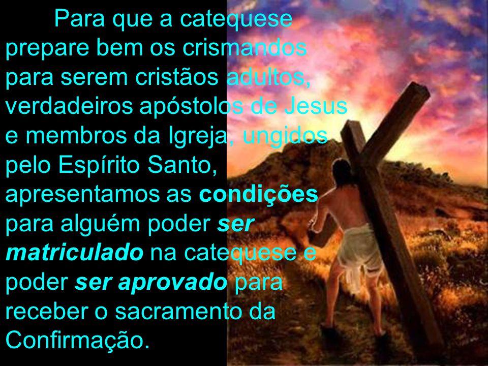 Para que a catequese prepare bem os crismandos para serem cristãos adultos, verdadeiros apóstolos de Jesus e membros da Igreja, ungidos pelo Espírito